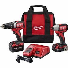 Milwaukee M18 Compact Brushless Hammer Drill and Impact Combo Kit 2799-22CX New