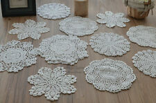 Lot of 16 Hand Crochet Lace Doilies White Round Snowflake Pineapple Wedding