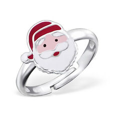Childrens Girls 925 Sterling Silver Santa Ring Adjustable Father Christmas Boxed