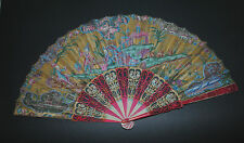 RARE ANTIQUE FILIGREE CARVED MIXED STICKS CHINESE HAND PAINTED SCENE GOLD FAN