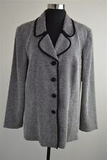 LESLIE FAY 67% Poly 33% Rayon Black/Cream Jacket Women's Size 16