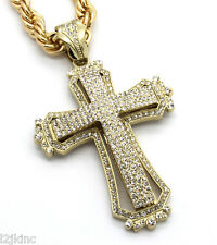 Mens Large Hollow Cross Gold Iced Out Pendant 30 Inch Necklace Rope Chain G09