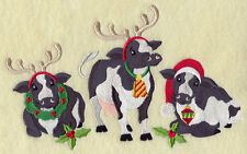 Embroidered Christmas cows quilt block,fabric,cushion panel,wall art,machine