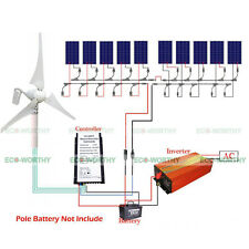1.4KW 220V Hybrid System Kit 400W Wind Generator & 10PC 100W 1KW Solar Panel