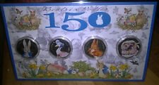 beatrix potter set of coloured 50p coins peter rabbit nutkin jemima tiggywinkle