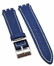Fit For Swatch 17mm Blue  Leather Watch Strap SWC106 (Similar Strap)