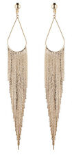 CLIP ON FASHION EARRINGS gold plated CHANDELIER long drop fringe - Britney G