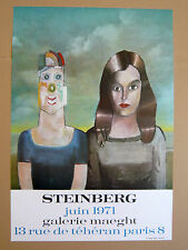 Affiche originale Saul STEINBERG  Exhibition 71 Paris New Yorker COUPLE Roumanie