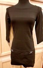 White House Black Market Black Top Stitched Stretch Ponte Tunic/Mini Dress, XXS