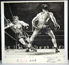 BOXING Fight Scene ORIGINAL Illustration PULP ART Mens Magazine Rocky Blood RARE