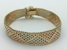 """Women's 14K Solid Tri-Color Gold Zigzag Triangle Bracelet 7"""" 20 g, 12 mm Jewelry"""