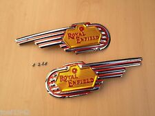FUEL - PETROL ROYAL ENFIELD TANK BADGES. PAIR . BRAND NEW