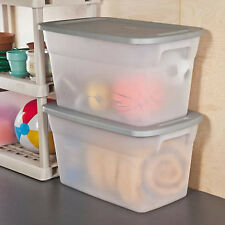 Storage Box Set of 6 Plastic Tote Containers Organizer Lids Large Case Garage