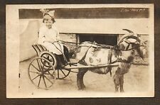 1918-1930 Darling Girl Riding Star Goat Cart ~ Vintage RPPC postcard