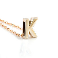 Fashion Womens Gold Plated Initial Alphabet Letter K Pendant Chain Necklace