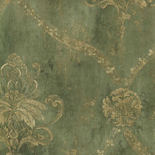 Weathered Damask Green & Pale Tan Wallpaper CH22568 Double Roll FREE SHIPPING