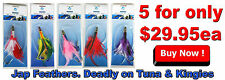 5 x Jap Tuna Feathers. GUN TUNA Trolling Lures Rigged with Stainless Steel Hooks