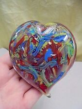 """Mid Century Murano Italy Colorful Gold Fleck Heart Art Glass Paperweight 4"""""""