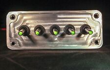 LED toggle switches - GREEN - w/  BILLET PLATE - RACING