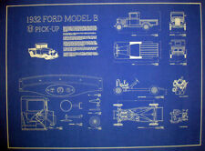 """Vintage Ford Pickup 1932 Factory Blueprint Plan Drawing 17""""x 23"""" (268)"""