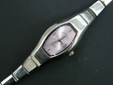 LOVELY LADIES LOUIS VALENTIN WATCH MAUVE FACE WITH SILVER STRAP AND CASE