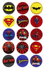 Spiderman Batman Superman BADGE Button Party Favour Lolly Bag Loot Birthday Card