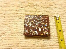 vintage S. F. Co. Fifth Avenue Powder Compact Lucite Brass Saks 5th Gem Flakes