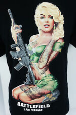 Battlefield Las Vegas Blonde Green Eye Pinup Girl Machine Gun Tattoo T Shirt