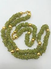 natural peridot nuggets chips beads necklace48cm+bracelet20cm jewelry set 365cts