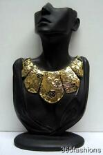 STATEMENT TRIBAL FLOWER ROSE BUTTERFLY COLLAR BIB FRONT NECKLACE GOLD