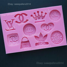 Designer Logo Silicone Mold for fondant, chocolate, candy. 10 cavities.