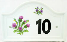 Thistle House Door Number Plaque Scotish Thistle Ceramic Door Sign Any Number