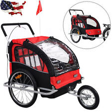 2 in 1 Double Child Baby Bike Trailer Bicycle Carrier Jogger Stroller Free Ship