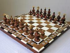 "VINTAGE 1940 MEXICAN?  CHESS SET K 3.5""+ SOLID INLAID FOLD OUT BOARD"