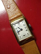Beautiful 1930s 18K Gold Art Deco Omega Men's Tank Watch. T-17 Movement.