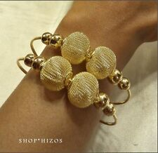 NEW GOLD METAL OVERSIZED MESH BALL THIN CUFF BRACELET