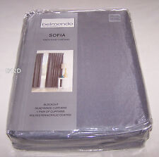 Belmondo Sofia Silver Pinch Pleat Ready Made Blockout Curtains 240cm x 221cm New