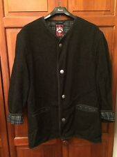 SCHNEIDERS SALZBURG Vintage Dark Grey Wool Coat Jacket With Plaid Lining - 12-16