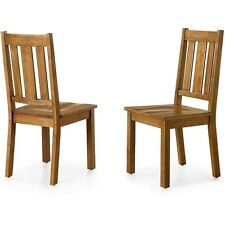 Farmhouse Kitchen 2 Pc Dining Chairs Set Solid Wood Mission Heavy Duty Honey