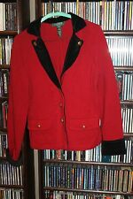Lauren Ralph Lauren Red Cardigan Sweater Black Velvet Trim Gold Button PM M (b6)