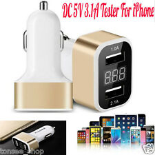4in1USB Dual Auto Ladegerät Adapter Spannung DC 5V 3.1A Tester Für iPhone