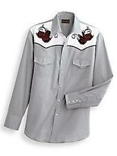 HIGH NOON embroidered flowers western pearl snap cowboy mens M rockabilly shirt