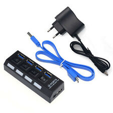 4 Ports USB 3.0 HUB With On/Off Switch Power Adapter For Desktop Laptop EU Plug