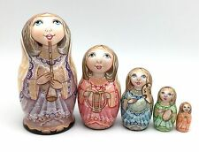 "Russian Nesting Doll ""Angel"" 5 piece set Hand Carved Hand Painted"