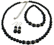 Black Pearls Neckalce Set Sterling Silver 92.5 Earrings Stretchable Bracelet