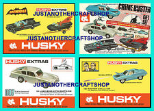 CORGI JUNIORS BATMOBILE Bond Husky crimebusters oncle Set de 4 affiches brochures