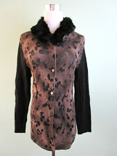 Womens Ladies Cosy Wool Real Rabbit Collar Animal Pattern Cardigan size 14 L I26
