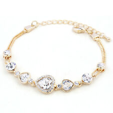 Xmas White Topaz Swarovski Crystal Elements Yellow Gold Plated Adjust Bracelet