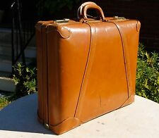 "STYLITE 22"" Suitcase Top Grain Cowhide Tan Luggage Vintage...WOW!!!"