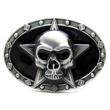 Vintage Punk Five-pointed Star Skull Skeleton Belt Buckle Cowboy Gothic Biker